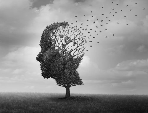 Dementie geïllustreerd door boom met wegwaaiende blaadjes
